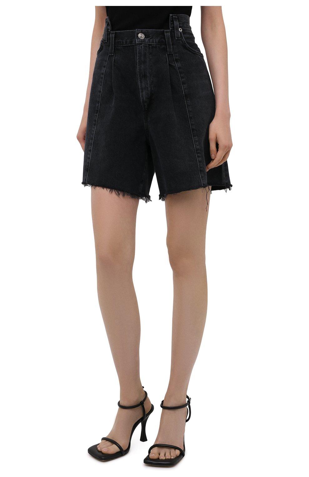 Женские джинсовые шорты AGOLDE темно-серого цвета, арт. A9017-1157   Фото 3 (Женское Кросс-КТ: Шорты-одежда; Стили: Гламурный; Кросс-КТ: Деним; Длина Ж (юбки, платья, шорты): Мини; Материал внешний: Хлопок)
