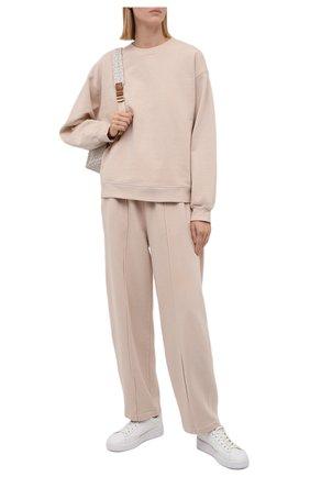 Женские хлопковые брюки AGOLDE светло-бежевого цвета, арт. A179 | Фото 2