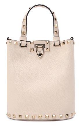 Женская сумка rockstud VALENTINO кремвого цвета, арт. WW2P0W31/VSH   Фото 1 (Материал: Натуральная кожа; Размер: small, mini; Сумки-технические: Сумки top-handle; Ремень/цепочка: На ремешке)