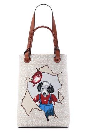 Женский сумка-тоут puppy LOEWE кремвого цвета, арт. B711C34X01 | Фото 1