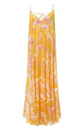 Женское шелковое платье EMILIO PUCCI желтого цвета, арт. 1RWI05/1R882 | Фото 1