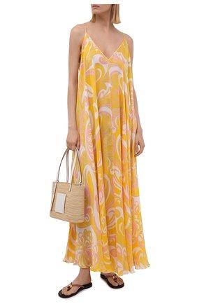 Женское шелковое платье EMILIO PUCCI желтого цвета, арт. 1RWI05/1R882 | Фото 2
