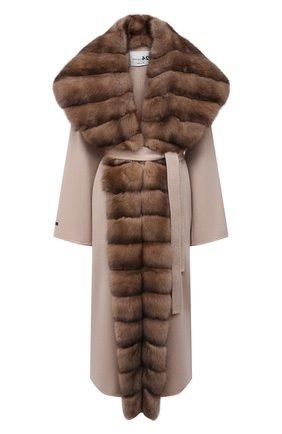 Женское кашемировое пальто с отделкой из меха соболя MANZONI24 бежевого цвета, арт. 21M647-WS1Z/38-46   Фото 1