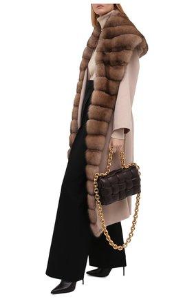 Женское кашемировое пальто с отделкой из меха соболя MANZONI24 бежевого цвета, арт. 21M647-WS1Z/38-46   Фото 2
