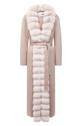 Женское кашемировое пальто с отделкой из меха шиншиллы MANZONI24 светло-бежевого цвета, арт. 21M498-WS1CH/38-46   Фото 1