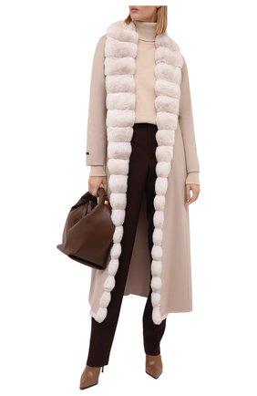 Женское кашемировое пальто с отделкой из меха шиншиллы MANZONI24 светло-бежевого цвета, арт. 21M498-WS1CH/38-46   Фото 2
