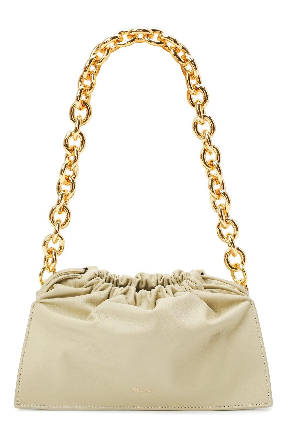 Женская сумка bom YUZEFI светло-зеленого цвета, арт. YUZIC0-HB-B0-13 | Фото 1 (Сумки-технические: Сумки top-handle; Материал: Натуральная кожа; Ремень/цепочка: На ремешке; Размер: small)