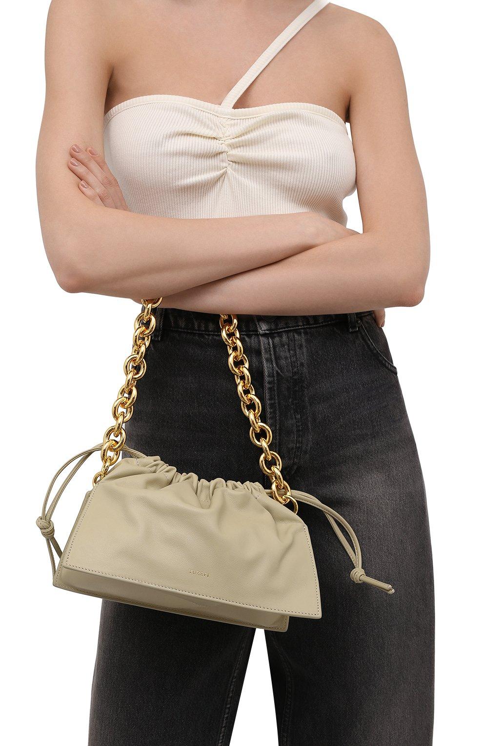 Женская сумка bom YUZEFI светло-зеленого цвета, арт. YUZIC0-HB-B0-13 | Фото 2 (Сумки-технические: Сумки top-handle; Материал: Натуральная кожа; Ремень/цепочка: На ремешке; Размер: small)