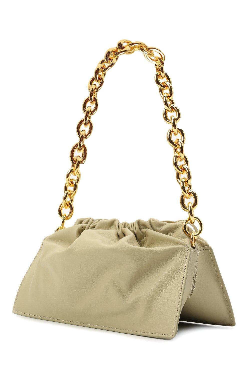 Женская сумка bom YUZEFI светло-зеленого цвета, арт. YUZIC0-HB-B0-13 | Фото 3 (Сумки-технические: Сумки top-handle; Материал: Натуральная кожа; Ремень/цепочка: На ремешке; Размер: small)