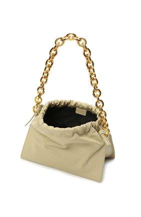 Женская сумка bom YUZEFI светло-зеленого цвета, арт. YUZIC0-HB-B0-13 | Фото 4 (Сумки-технические: Сумки top-handle; Материал: Натуральная кожа; Ремень/цепочка: На ремешке; Размер: small)