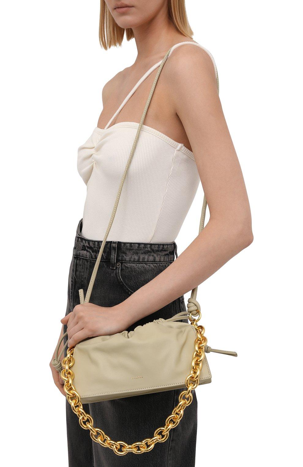 Женская сумка bom YUZEFI светло-зеленого цвета, арт. YUZIC0-HB-B0-13 | Фото 5 (Сумки-технические: Сумки top-handle; Материал: Натуральная кожа; Ремень/цепочка: На ремешке; Размер: small)