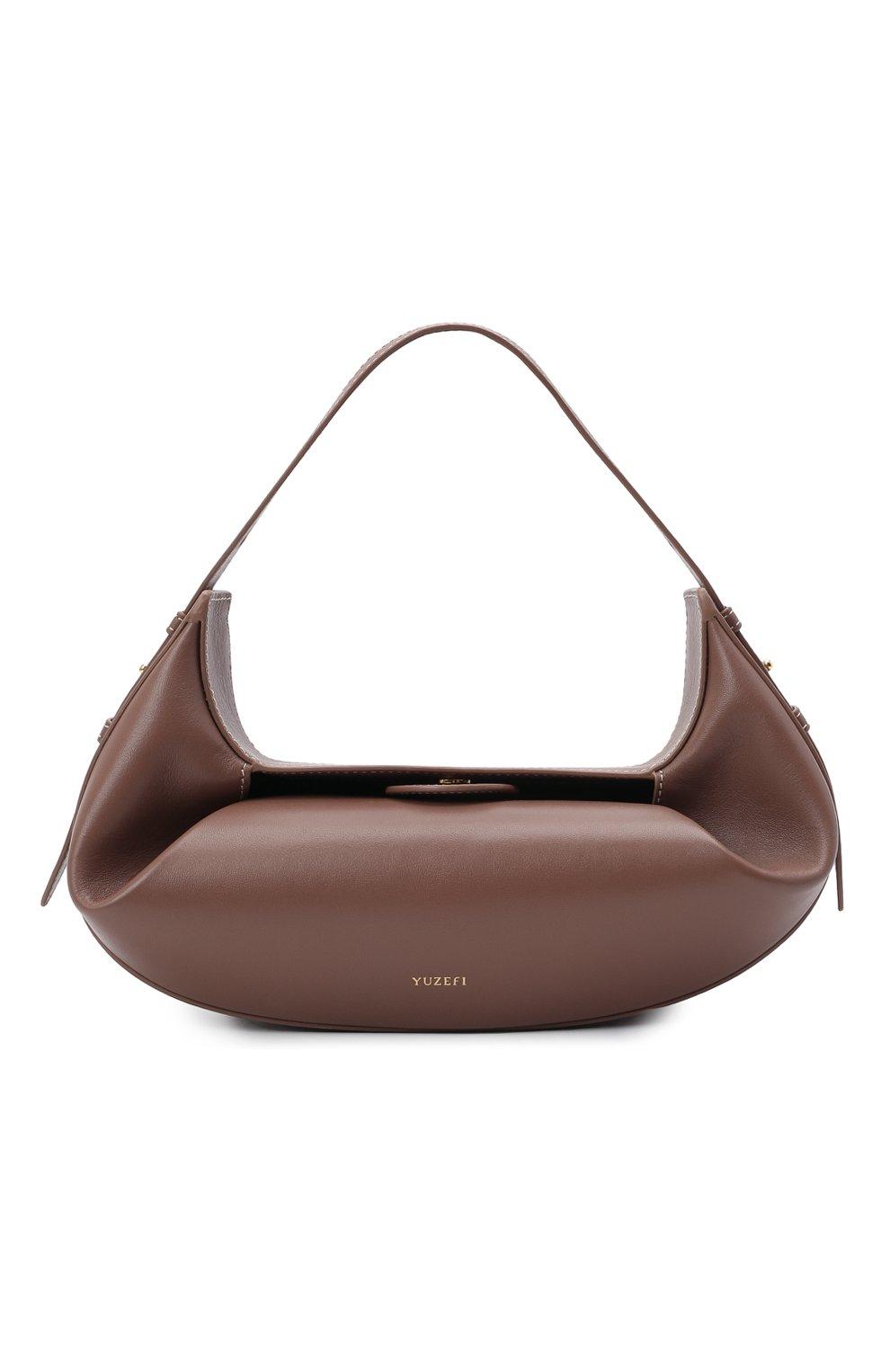 Женская сумка fortune cookie YUZEFI коричневого цвета, арт. YUZPF21-HB-FC-14 | Фото 1 (Сумки-технические: Сумки top-handle; Размер: medium; Материал: Натуральная кожа)
