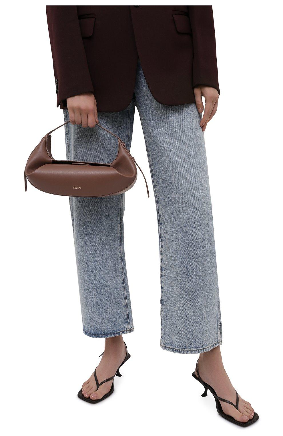 Женская сумка fortune cookie YUZEFI коричневого цвета, арт. YUZPF21-HB-FC-14 | Фото 2 (Сумки-технические: Сумки top-handle; Размер: medium; Материал: Натуральная кожа)