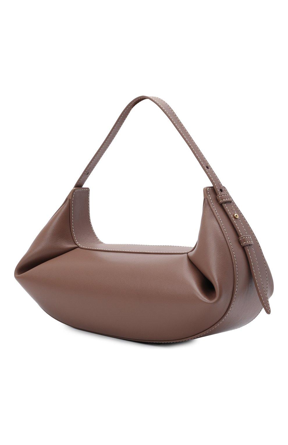 Женская сумка fortune cookie YUZEFI коричневого цвета, арт. YUZPF21-HB-FC-14 | Фото 3 (Сумки-технические: Сумки top-handle; Размер: medium; Материал: Натуральная кожа)