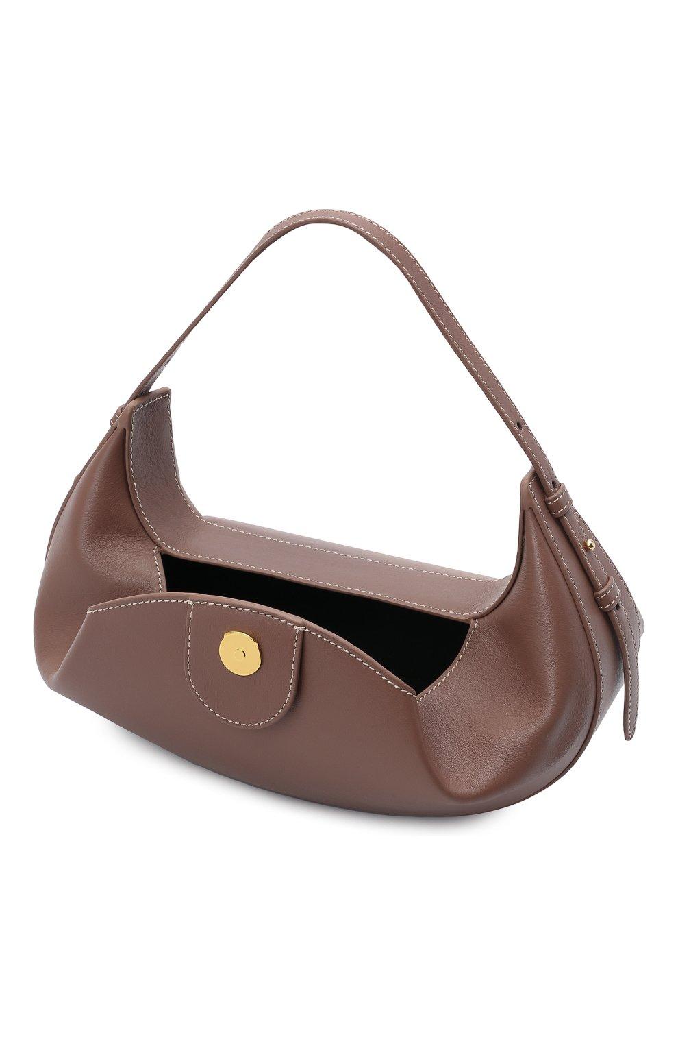 Женская сумка fortune cookie YUZEFI коричневого цвета, арт. YUZPF21-HB-FC-14 | Фото 4 (Сумки-технические: Сумки top-handle; Размер: medium; Материал: Натуральная кожа)