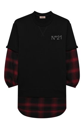 Детское хлопковое платье N21 черного цвета, арт. N21198/N0177/N21D57F | Фото 1