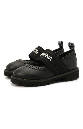 Детские кожаные туфли DOLCE & GABBANA черного цвета, арт. D10960/AW087/24-28 | Фото 1