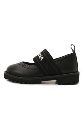 Детские кожаные туфли DOLCE & GABBANA черного цвета, арт. D10960/AW087/24-28 | Фото 2