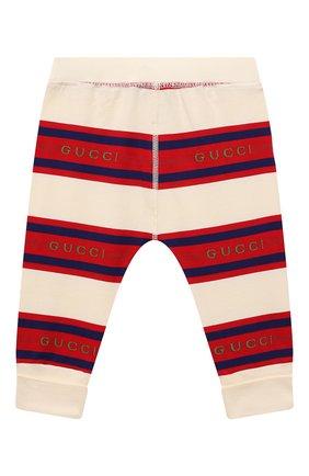 Детские хлопковые брюки GUCCI разноцветного цвета, арт. 653677/XJDJ3   Фото 2