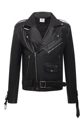 Мужская кожаная куртка VETEMENTS черного цвета, арт. UA52JA910BL 2470/M | Фото 1