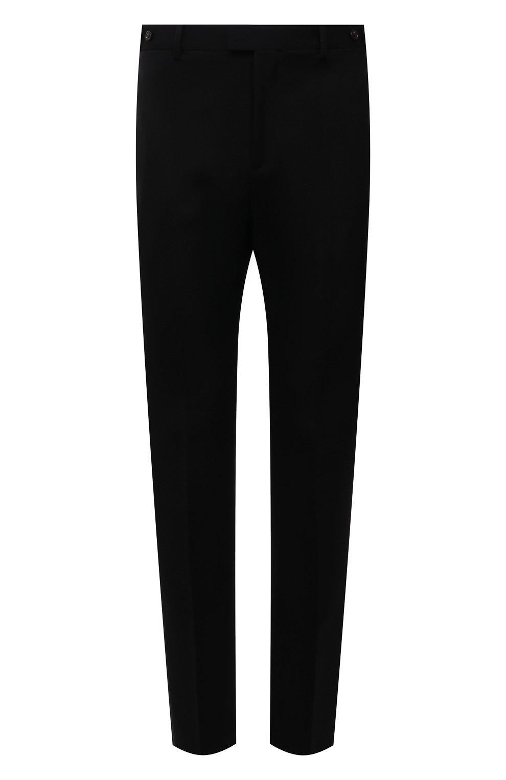 Мужские шерстяные брюки BOTTEGA VENETA черного цвета, арт. 659698/VKIS0   Фото 1 (Материал внешний: Шерсть; Длина (брюки, джинсы): Стандартные; Случай: Повседневный; Стили: Минимализм)