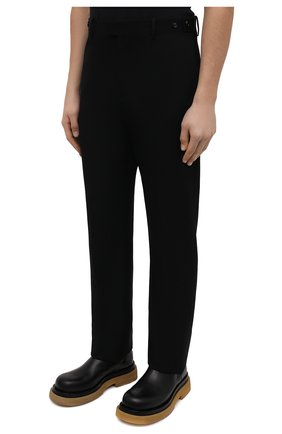 Мужские шерстяные брюки BOTTEGA VENETA черного цвета, арт. 659698/VKIS0   Фото 3 (Материал внешний: Шерсть; Длина (брюки, джинсы): Стандартные; Случай: Повседневный; Стили: Минимализм)