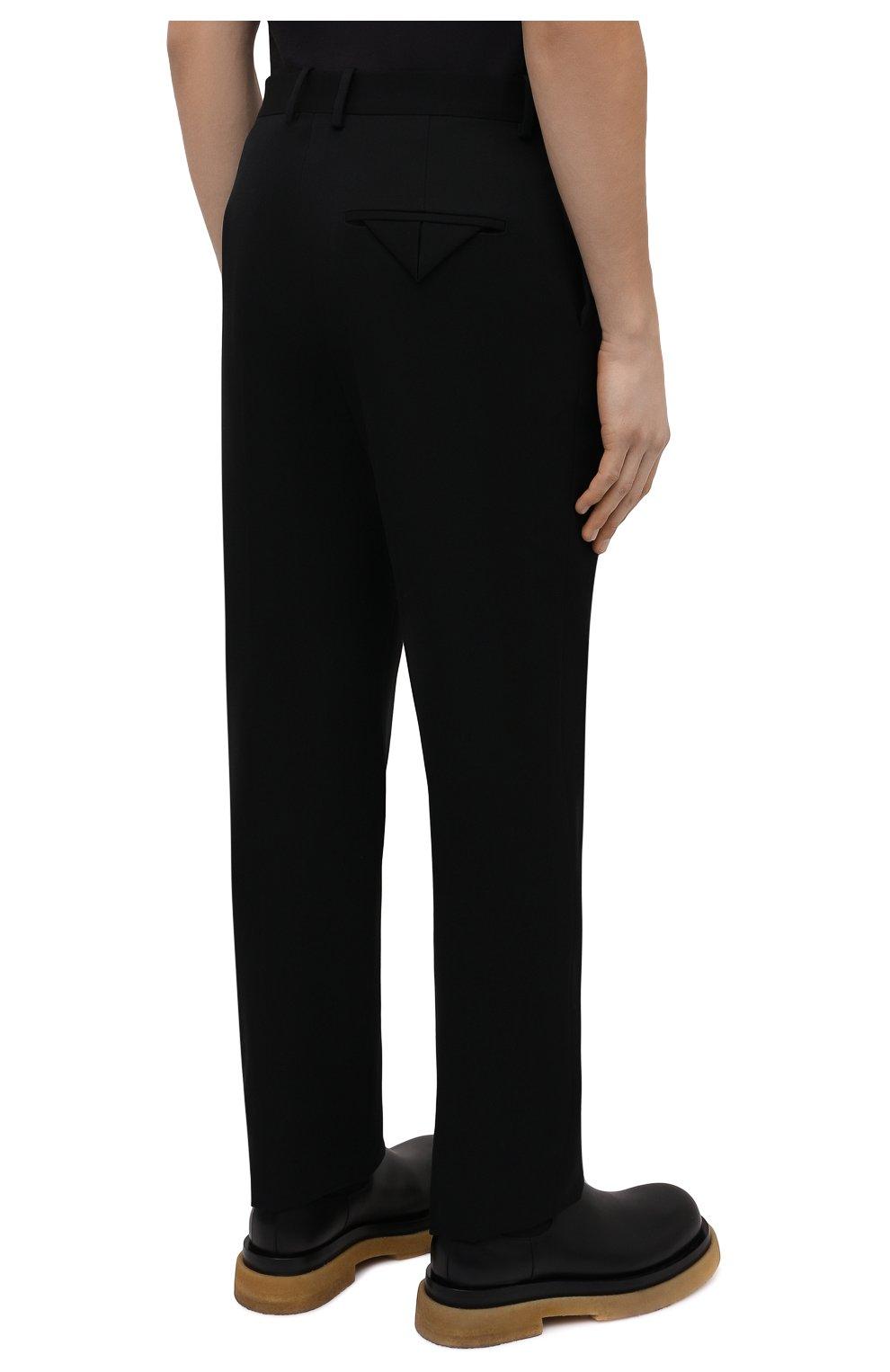 Мужские шерстяные брюки BOTTEGA VENETA черного цвета, арт. 659698/VKIS0   Фото 4 (Материал внешний: Шерсть; Длина (брюки, джинсы): Стандартные; Случай: Повседневный; Стили: Минимализм)