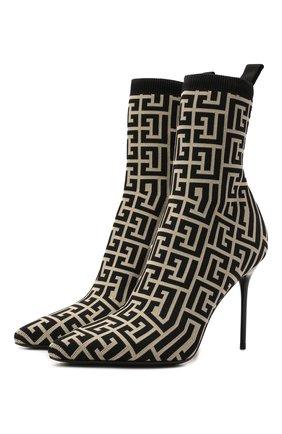 Женские текстильные ботильоны BALMAIN черно-белого цвета, арт. WN1TA680/TMGK | Фото 1 (Каблук высота: Высокий; Каблук тип: Шпилька; Материал внутренний: Натуральная кожа; Материал внешний: Текстиль; Подошва: Плоская)