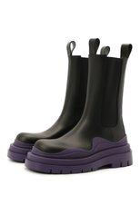 Женские кожаные ботинки bv tire BOTTEGA VENETA фиолетового цвета, арт. 630297/VBS50 | Фото 1 (Материал внутренний: Натуральная кожа; Женское Кросс-КТ: Челси-ботинки; Подошва: Платформа; Каблук высота: Низкий)
