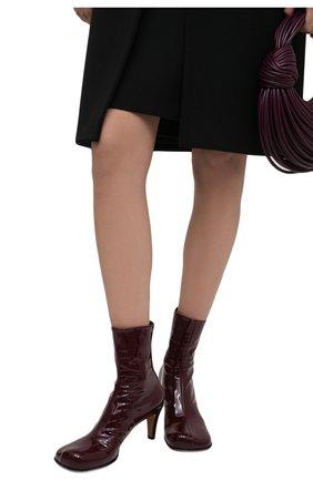 Женские кожаные ботильоны the block BOTTEGA VENETA бордового цвета, арт. 667208/V10M0 | Фото 2