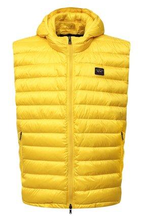 Мужской пуховый жилет PAUL&SHARK желтого цвета, арт. C0P2007/GZ7/3XL-6XL   Фото 1 (Материал утеплителя: Пух и перо; Материал подклада: Синтетический материал; Материал внешний: Синтетический материал; Кросс-КТ: Куртка, Пуховик; Стили: Кэжуэл; Длина (верхняя одежда): Короткие)