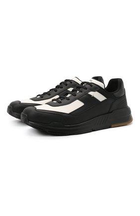 Мужские комбинированные кроссовки BERLUTI черного цвета, арт. S5548-001 | Фото 1