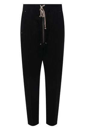 Мужские брюки из хлопка и шерсти RICK OWENS черного цвета, арт. RU02A5392/WCF | Фото 1