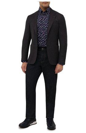 Мужская хлопковая рубашка PAUL&SHARK темно-синего цвета, арт. 11313120/C00/48-50 | Фото 2