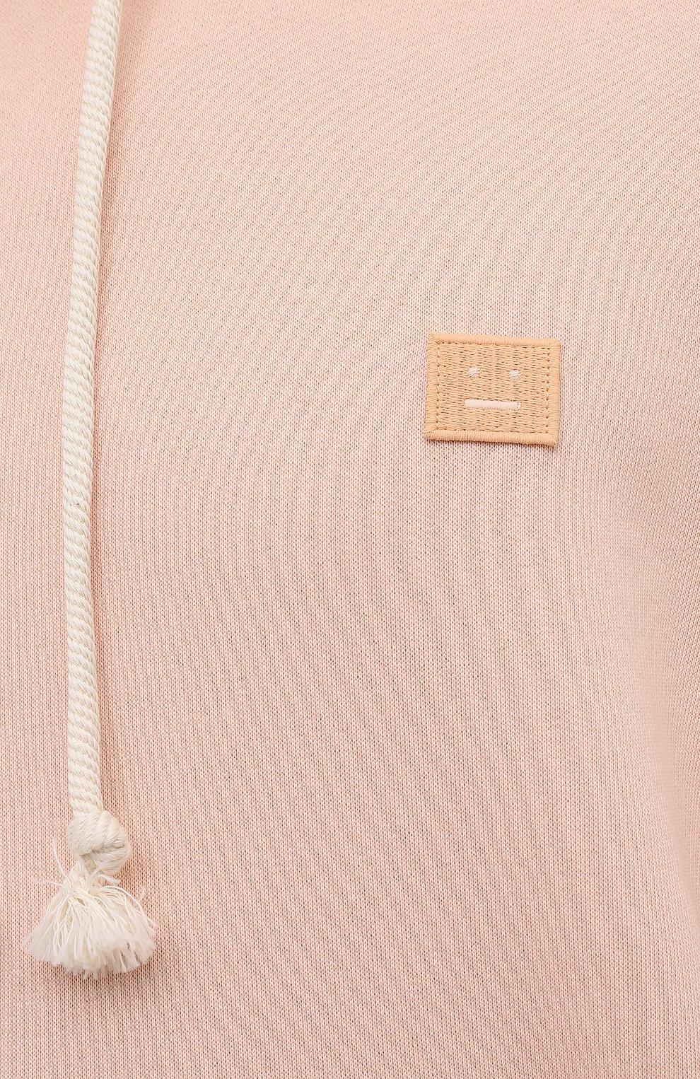Мужской хлопковое худи ACNE STUDIOS светло-розового цвета, арт. CI0075/M   Фото 5 (Рукава: Длинные; Принт: Без принта; Длина (для топов): Стандартные; Мужское Кросс-КТ: Худи-одежда; Материал внешний: Хлопок; Стили: Спорт-шик)