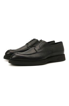 Мужские кожаные дерби BRIONI черного цвета, арт. QE2A0L/P7731   Фото 1 (Материал внутренний: Натуральная кожа; Стили: Классический)