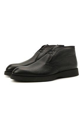 Мужские кожаные ботинки BRIONI черного цвета, арт. QQC30L/09712 | Фото 1 (Материал внутренний: Натуральная кожа; Материал утеплителя: Натуральный мех; Мужское Кросс-КТ: Ботинки-обувь, зимние ботинки, Дезерты-обувь; Подошва: Плоская)