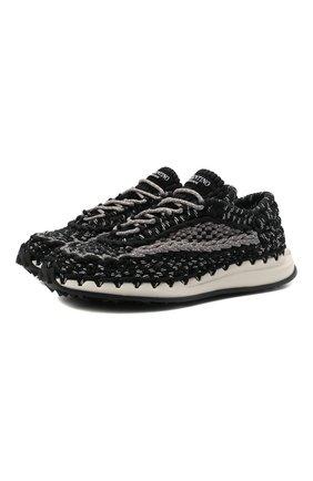 Мужские текстильные кроссовки crochet VALENTINO черного цвета, арт. WY2S0E41/ZXB | Фото 1 (Материал внутренний: Текстиль; Материал внешний: Текстиль; Стили: Гранж; Подошва: Массивная)