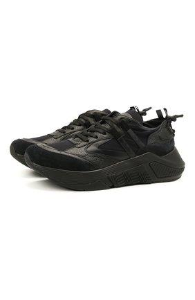 Мужские комбинированные кроссовки GIORGIO ARMANI темно-синего цвета, арт. X2X143/XM983 | Фото 1 (Материал внутренний: Натуральная кожа; Материал внешний: Текстиль; Стили: Классический; Подошва: Массивная)