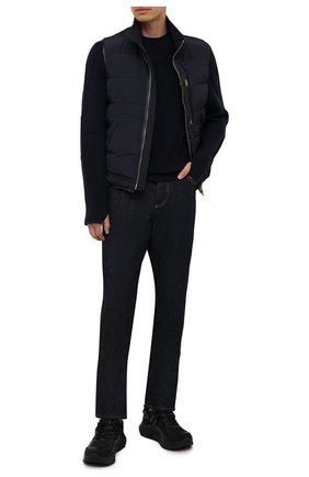 Мужские комбинированные кроссовки GIORGIO ARMANI темно-синего цвета, арт. X2X143/XM983 | Фото 2 (Материал внутренний: Натуральная кожа; Материал внешний: Текстиль; Стили: Классический; Подошва: Массивная)