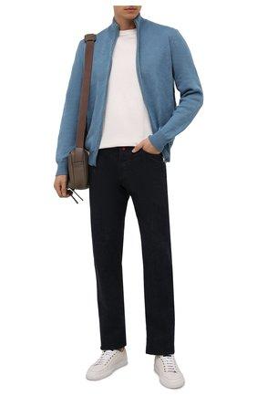 Мужской кашемировый кардиган FIORONI голубого цвета, арт. MK23012E1 | Фото 2 (Материал внешний: Кашемир, Шерсть; Мужское Кросс-КТ: Кардиган-одежда; Стили: Кэжуэл; Длина (для топов): Стандартные; Рукава: Длинные)