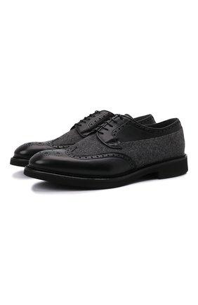Мужские комбинированные дерби DOUCAL'S черного цвета, арт. DU2932VER0PT453NN00 | Фото 1 (Материал внутренний: Текстиль, Натуральная кожа; Материал внешний: Текстиль; Стили: Классический; Мужское Кросс-КТ: Броги-обувь)