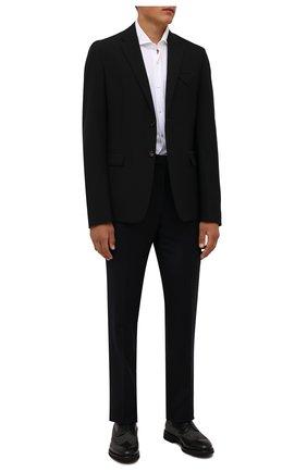 Мужские комбинированные дерби DOUCAL'S черного цвета, арт. DU2932VER0PT453NN00 | Фото 2 (Материал внутренний: Текстиль, Натуральная кожа; Материал внешний: Текстиль; Стили: Классический; Мужское Кросс-КТ: Броги-обувь)