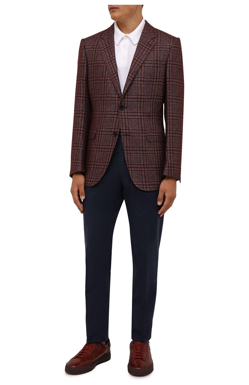 Мужские кожаные кеды SANTONI бордового цвета, арт. MBGT21554TCHRG0NS20   Фото 2 (Материал внутренний: Натуральная кожа; Подошва: Массивная)