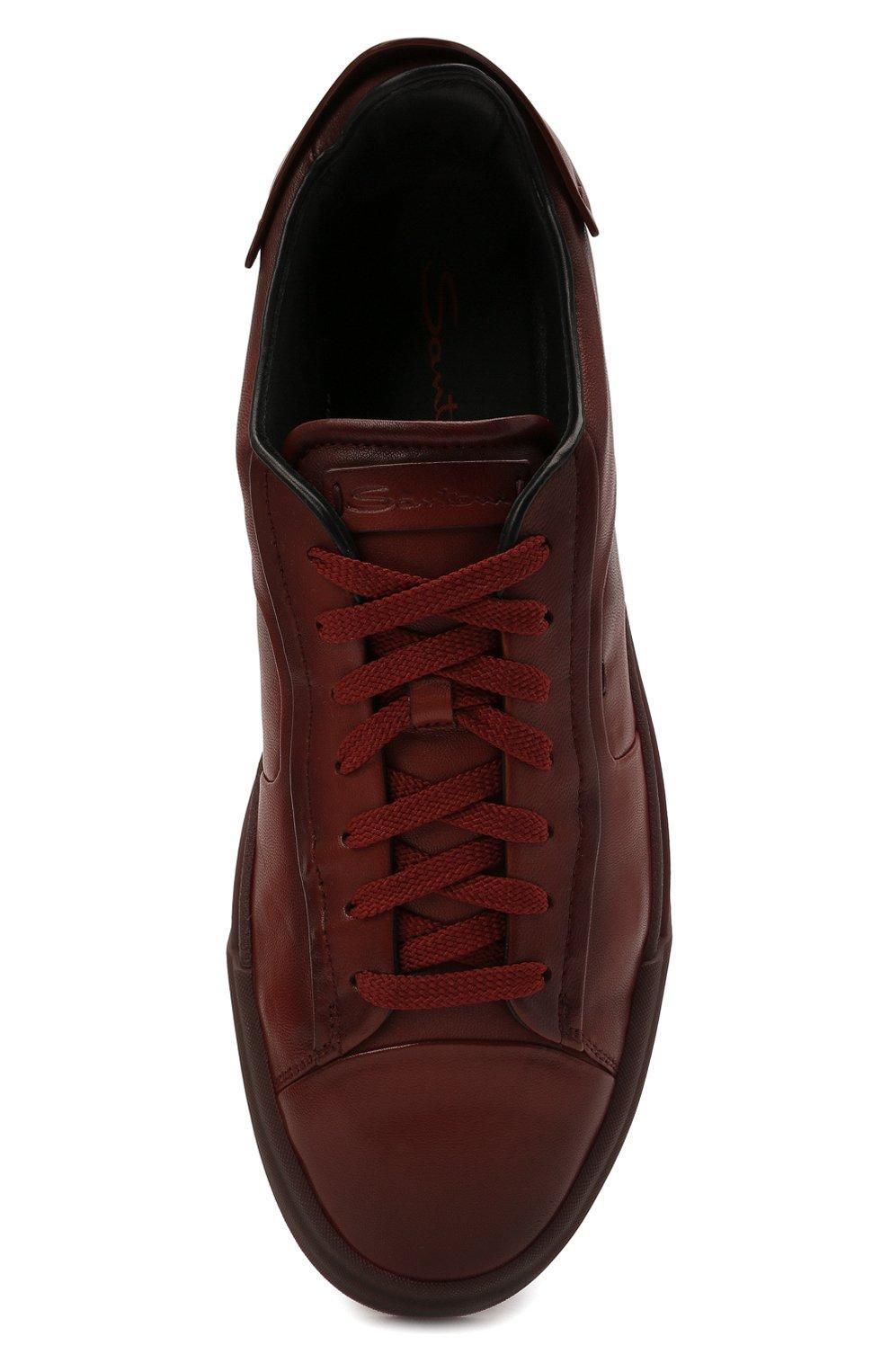 Мужские кожаные кеды SANTONI бордового цвета, арт. MBGT21554TCHRG0NS20   Фото 5 (Материал внутренний: Натуральная кожа; Подошва: Массивная)