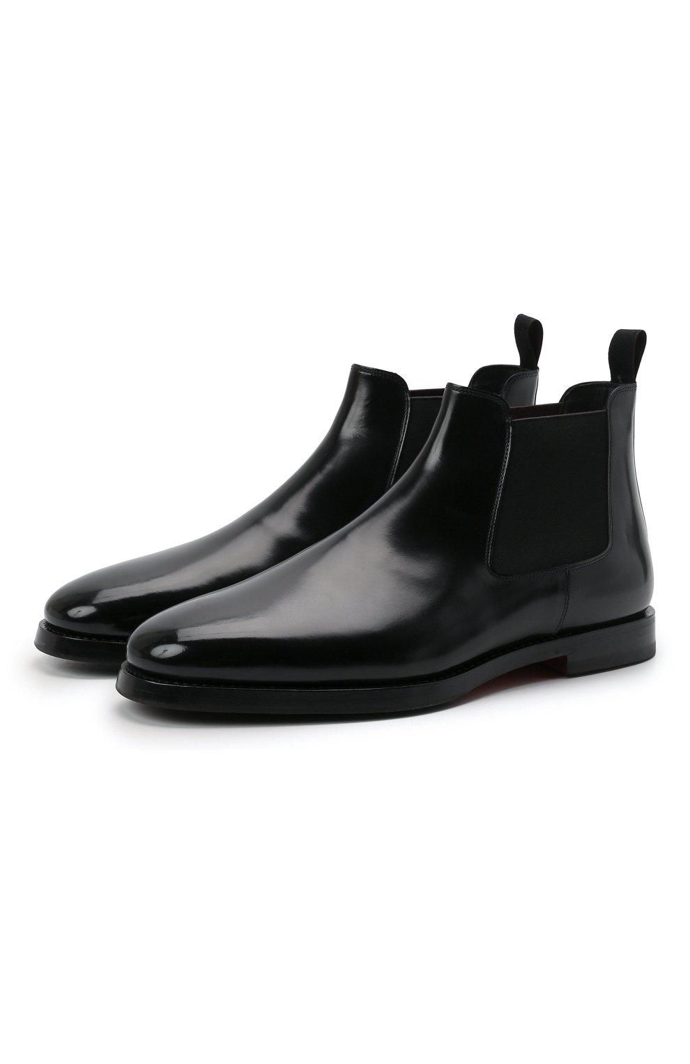 Мужские кожаные челси SANTONI черного цвета, арт. MCCG17802SG3AVRTN01 | Фото 1 (Материал внутренний: Натуральная кожа; Подошва: Плоская; Мужское Кросс-КТ: Сапоги-обувь, Челси-обувь)