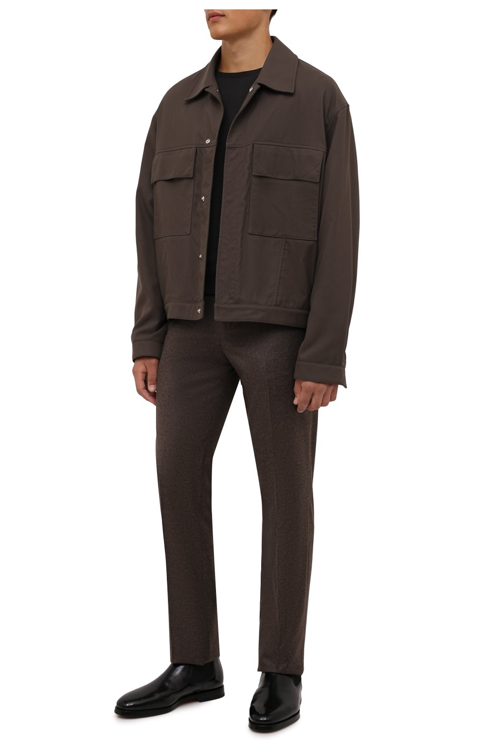 Мужские кожаные челси SANTONI черного цвета, арт. MCCG17802SG3AVRTN01 | Фото 2 (Материал внутренний: Натуральная кожа; Подошва: Плоская; Мужское Кросс-КТ: Сапоги-обувь, Челси-обувь)