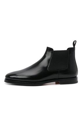 Мужские кожаные челси SANTONI черного цвета, арт. MCCG17802SG3AVRTN01 | Фото 3 (Материал внутренний: Натуральная кожа; Подошва: Плоская; Мужское Кросс-КТ: Сапоги-обувь, Челси-обувь)