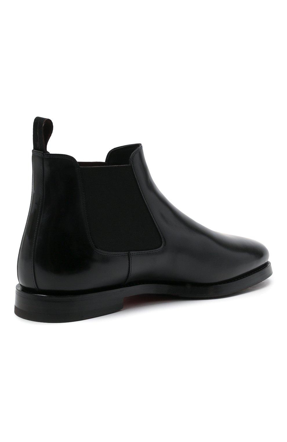 Мужские кожаные челси SANTONI черного цвета, арт. MCCG17802SG3AVRTN01 | Фото 4 (Материал внутренний: Натуральная кожа; Подошва: Плоская; Мужское Кросс-КТ: Сапоги-обувь, Челси-обувь)