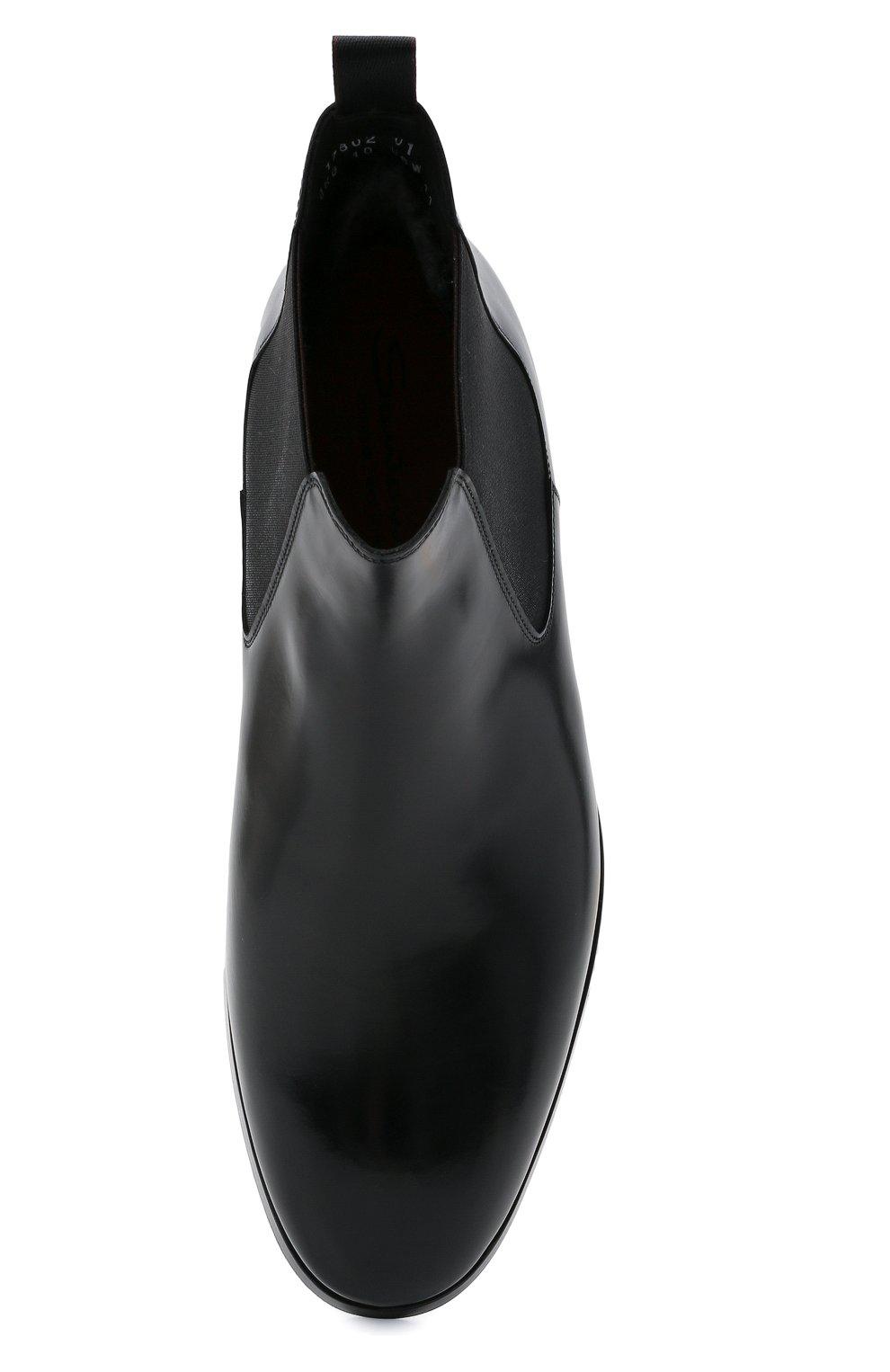Мужские кожаные челси SANTONI черного цвета, арт. MCCG17802SG3AVRTN01 | Фото 5 (Материал внутренний: Натуральная кожа; Подошва: Плоская; Мужское Кросс-КТ: Сапоги-обувь, Челси-обувь)